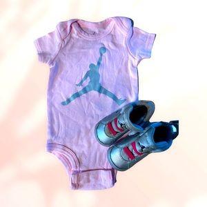 Air Jordan onesie with shoes set
